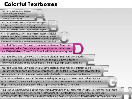 Ppt Colorful PowerPoint Presentations Textboxes With Alphabets Abcdefgh Success Templates