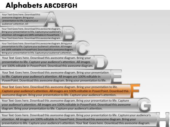 Ppt Colorful Textboxes With Alphabets Abcdefgh Business PowerPoint Templates