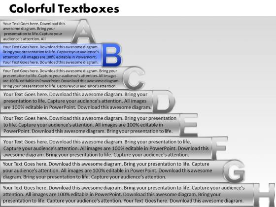 Ppt Colorful Textboxes With Alphabets Abcdefgh Time Management PowerPoint Process Templates