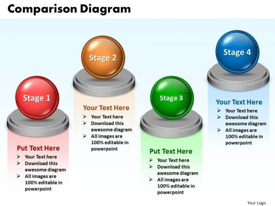 Ppt Comparison Diagram Of 4 Colorful State PowerPoint Templates