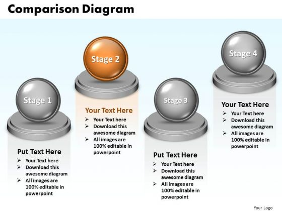Ppt Comparison Diagram Of 4 Division PowerPoint Templates