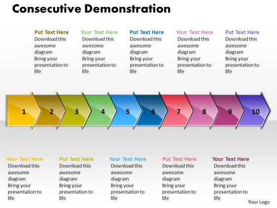 Ppt Consecutive Demonstration By 10 Arrows PowerPoint 2010 Templates
