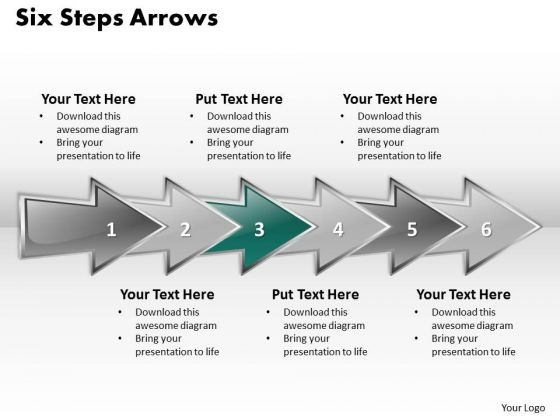 Ppt Consecutive Demonstration Using Arrows 6 Steps PowerPoint Templates