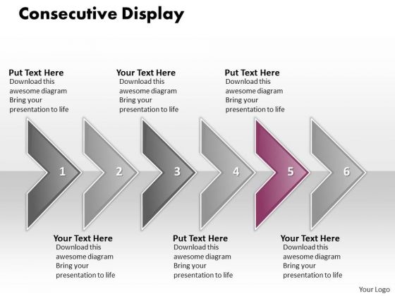 Ppt Consecutive Display Of 6 Concepts Through Curved Arrows PowerPoint 2010 Templates