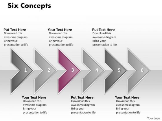 Ppt Consecutive Effect Of 6 Concepts Through Arrows PowerPoint Templates