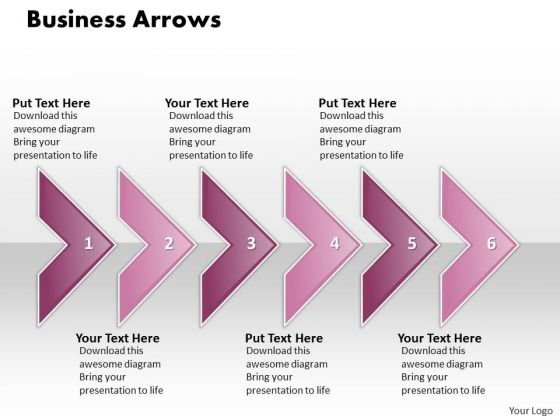 Ppt Consecutive Execution Of 6 Concepts Through Curved Arrows PowerPoint 2010 Templates