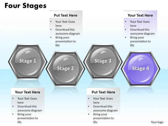 Ppt Consecutive Hexagonal Text Boxes PowerPoint Background 4 State Diagram Templates
