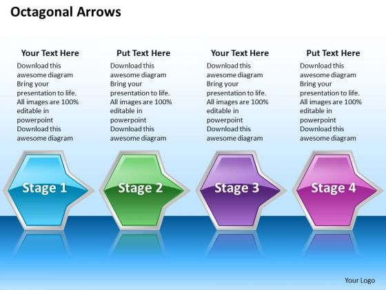 Ppt Consecutive Illustration Of Octagonal Shapes Arrows PowerPoint 4 Stages Templates