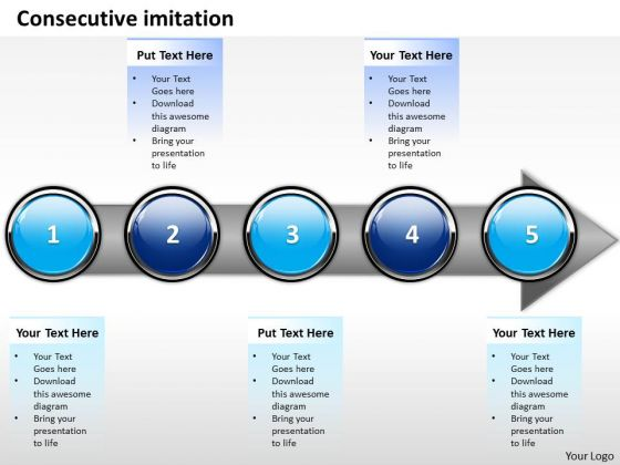 Ppt Consecutive Imitation Of Marketing Process Using 5 Stages PowerPoint Templates