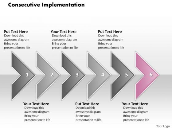 Ppt Consecutive Implementation Of 6 Concepts Through Arrows PowerPoint 2010 Templates