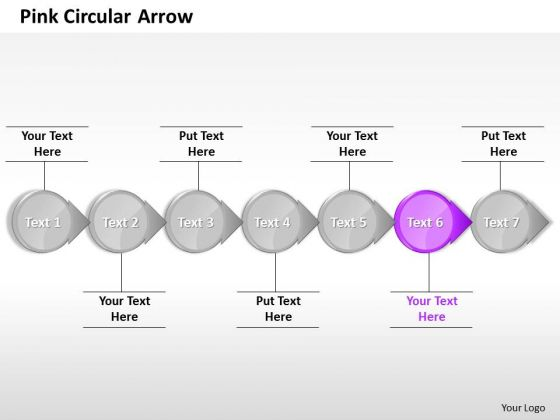 Ppt Consistent Purple Circular Arrow In Horizontal Line 7 Stages PowerPoint Templates