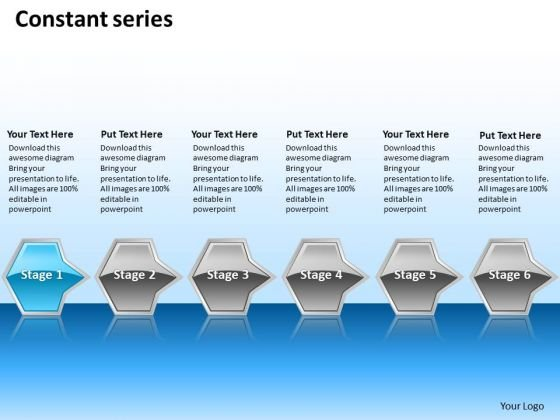 Ppt Continual Series Of Octagonal PowerPoint Graphics Arrows 6 Stages Blue Templates