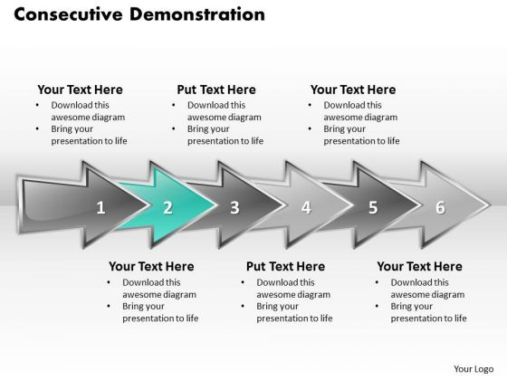 Ppt Continuing Demonstration Using 3d Arrows PowerPoint Six Steps Templates