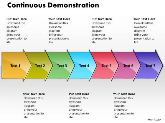Ppt Continuous Demonstration By 7 Curved Arrows PowerPoint 2010 Templates
