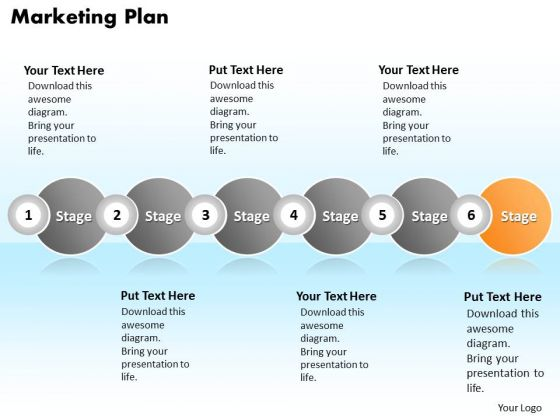 Ppt Continuous Illustration Of Marketing Plan Using 6 Stages PowerPoint Templates