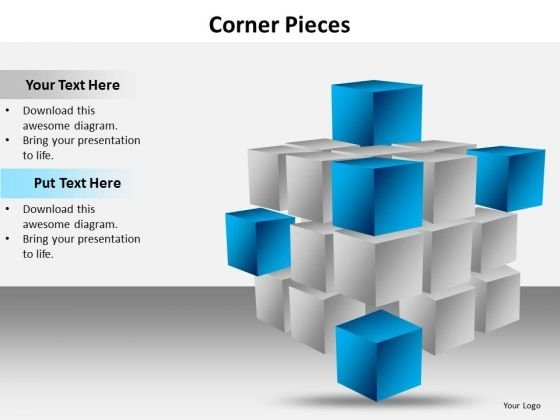 Ppt Corner Pieces Of Cube Signify Important Concets PowerPoint Templates