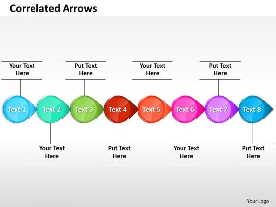 Ppt Correlated Circular 3d Arrows PowerPoint Horizontal Line 8 Stages Templates