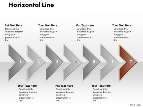 Ppt Correlated Circular Arrows PowerPoint 2010 Horizontal Line 7 Stages Templates