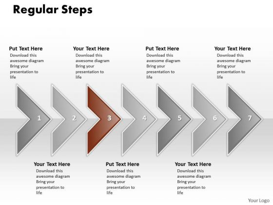 Ppt Correlated Curved Arrows PowerPoint 2010 Regular Line 7 Stages Templates