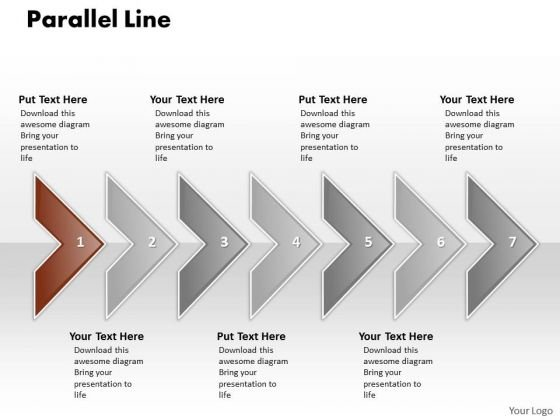 Ppt Correlated PowerPoint Graphics Arrows Parallel Line 7 Stage Templates