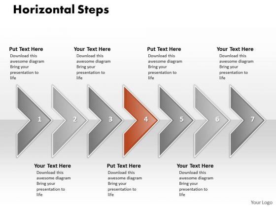 Ppt Correlated Shapes Arrows PowerPoint Horizontal Stages Templates