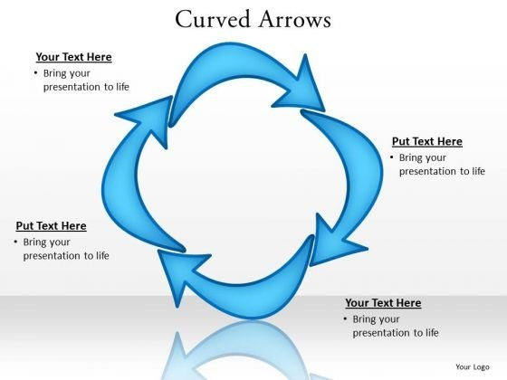 Ppt Curved Arrows Pointer Inwards PowerPoint Templates