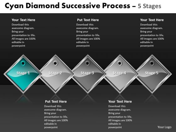 Ppt Cyan Diamond Consistent Process 5 Phase Diagram Business PowerPoint Templates
