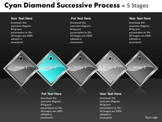 Ppt Cyan Diamond Sequential Process 5 Stages Business PowerPoint Templates