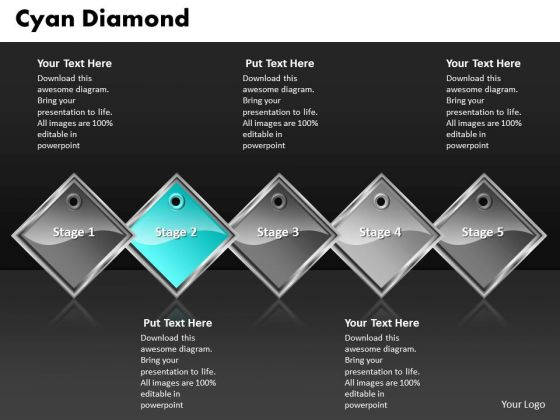 Ppt Cyan Diamond Successive Action 5 State Diagram PowerPoint Templates