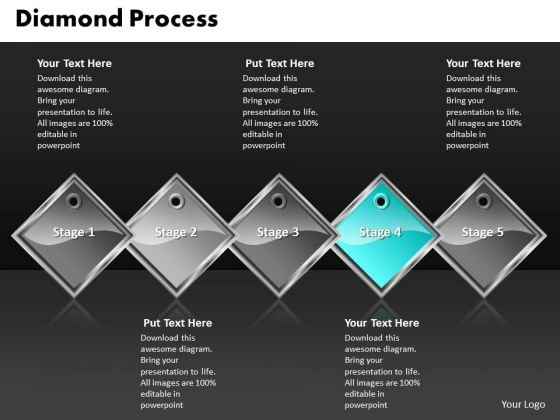 Ppt Cyan Diamond Successive Procedure 5 Power Point Stage PowerPoint Templates