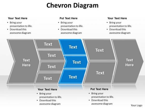 Ppt Describing Blue Components Using Chevron Diagram PowerPoint Free Templates