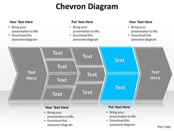 Ppt Describing Sky Blue Component Using Chevron Diagram PowerPoint Templates