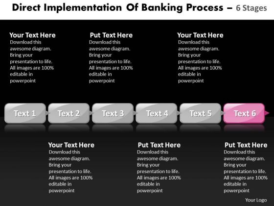 Ppt Direct Implementation Of Banking Process Using 6 Steps Business PowerPoint Templates