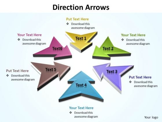 Ppt Direction Arrows Diagram PowerPoint Free Editable Templates