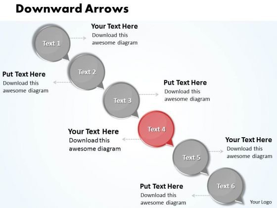 Ppt Downward Arrow Circles 6 Stages PowerPoint Templates