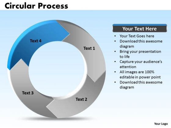 Ppt Edit Data PowerPoint Chart Processing Cycle Diagram 4 State Templates