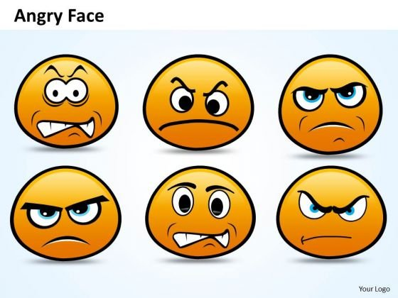 Ppt Emoticon Showing Angry Face Time Management PowerPoint Templates