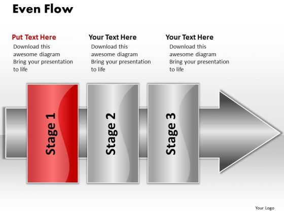 Ppt Even Flow 3 Stages1 PowerPoint Templates