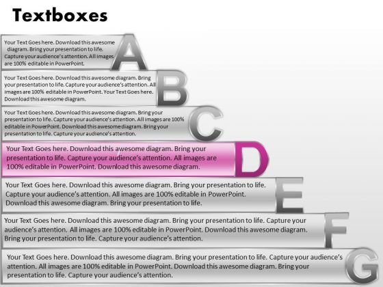Ppt Fancy Letters Abcdefg With Textboxes Business Plan Powerpoint