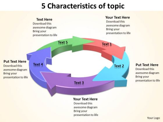 Ppt Five Characteristics Of Topic PowerPoint Templates Free Download