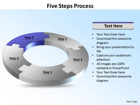 Ppt Five Power Point Stage Circular PowerPoint Menu Template Flow