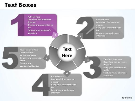 Ppt Five Text Align Boxes PowerPoint 2010 Connected With Circle Templates
