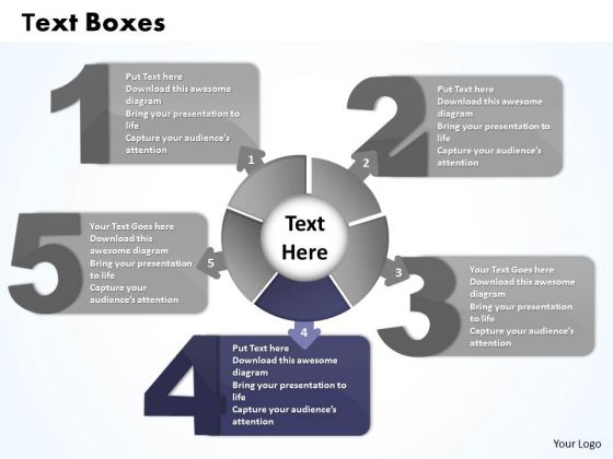 Ppt Five Text Boxes Connected With Unit Circle PowerPoint Presentation Business Templates