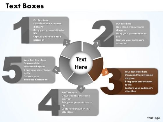 Ppt Five Text Boxes Live Connections With Circle PowerPoint Template Business Templates