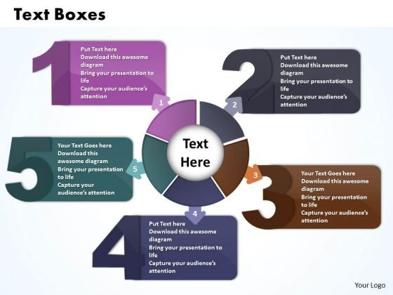 Ppt Five Text Boxes PowerPoint Template Connections Travel With Circle Chart Templates