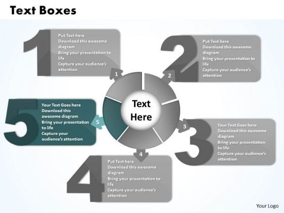 Ppt Five Text Boxes PowerPoint Template Lotus Connections With Circle Business Templates