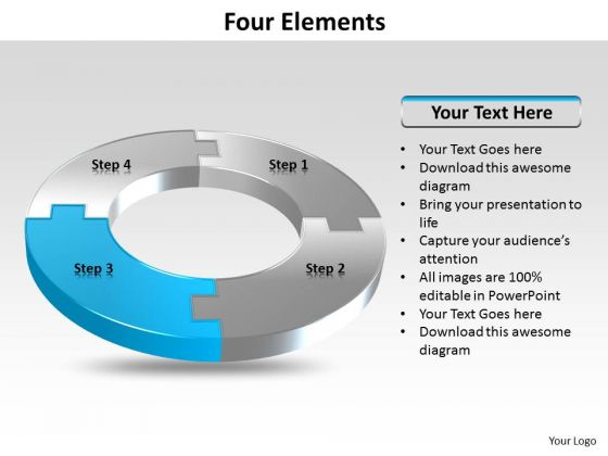 Ppt Four Colorful PowerPoint Presentations Puzzles Forming Circle Showing Blue Templates