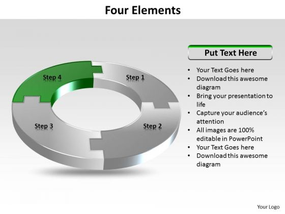 Ppt Four Colorful Puzzles Forming Circle Showing Green PowerPoint Slide Templates