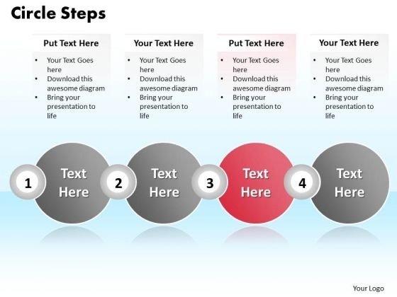 Ppt Four Practice The PowerPoint Macro Steps Text Circle Process Templates