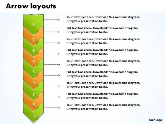 Ppt Go Green Layouts PowerPoint Free And Orange Arrow 9 Stages Templates